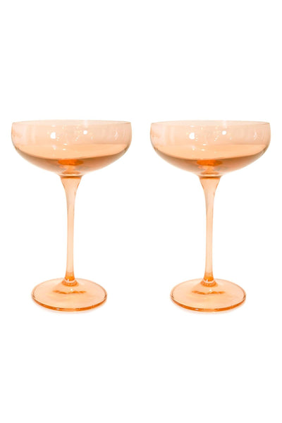 Colored Champagne Coupe Stemware in Blush Pink - Set of 2