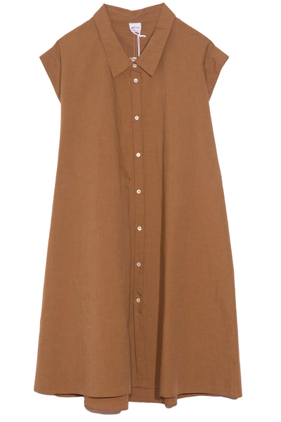 A-Line Stripe Dress with Collar in Tobacco