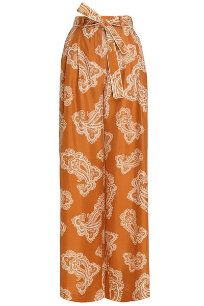 Wavelength Waist Tie Trouser in Gold Paisley