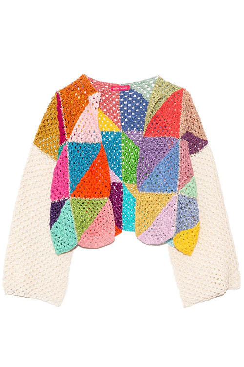 Bolero Sweater in Diagonal Multicolor