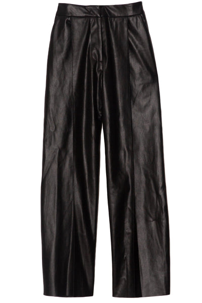 Flare Leather Pants in Black