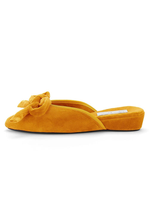 Daphne Bow Slipper in Marigold Yellow Velvet