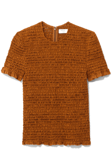 Short Sleeve Smocked Top in Tobacco