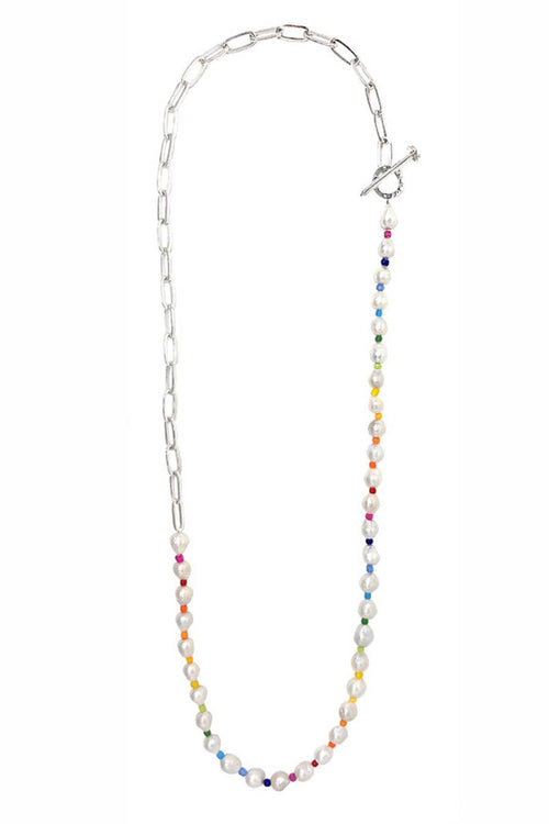Chain + Pearl Elongated Link Rope Necklace