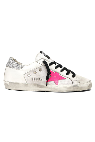 Superstar Sneaker in White Leather/White Canvas/Pink Star