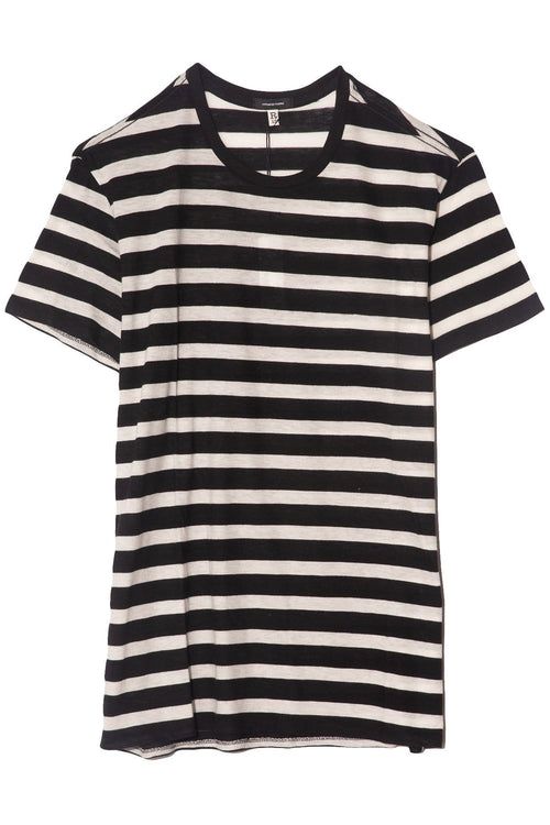 Striped Boy T in Black with Ecru