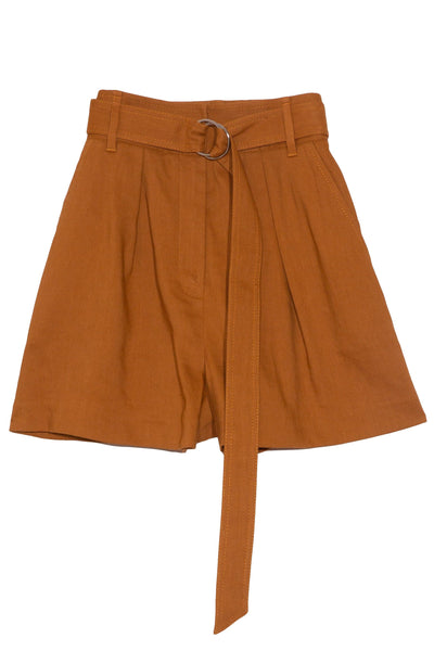 Linen Pleated Short in Cinnamon