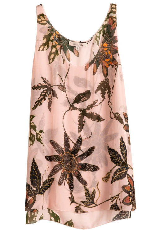 Floral Transparencies Top in Rose Passiflora