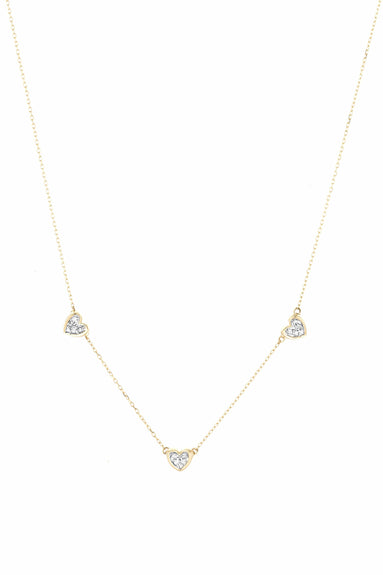 3 Pave Folded Heart Chain Necklace in Yellow Gold