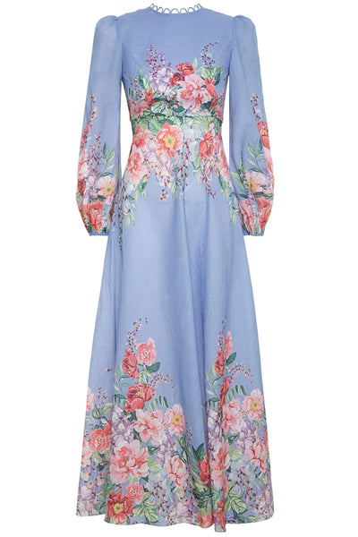 Bellitude Floral Long Dress in Cornflower Floral
