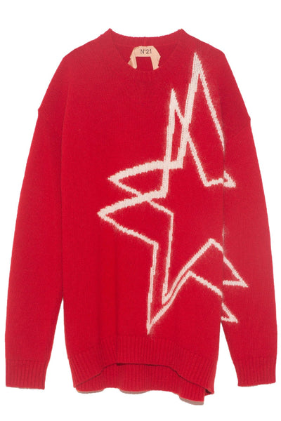Round Neck Star Sweater in Red
