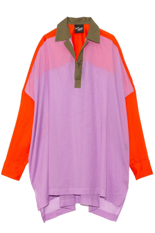 Over Blouse in Lilac/Khaki/Tangerine
