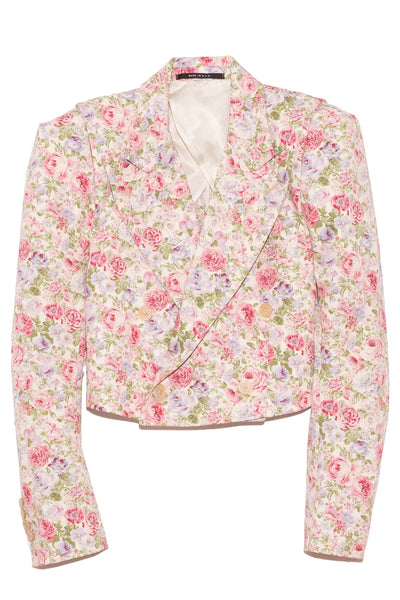 Square Shoulder Cropped Bomber in Pink