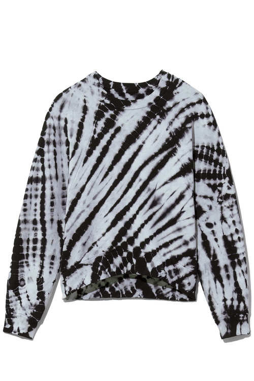 Modified Raglan Tie Dye Sweatshirt in Chambray/Black