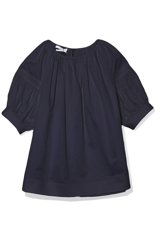 Raglan Trapunto Blouse in Navy