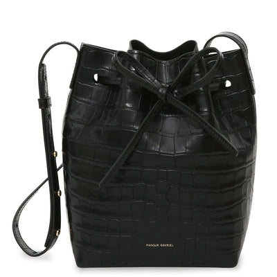 Croc Embossed Mini Bucket Bag in Black