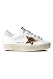 Hi Star Sneakers in White Leather/Leopard/Lurex Lace