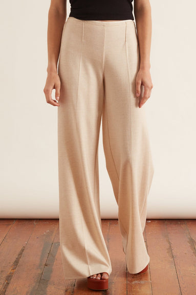 Chic Flannel High Waist Pants in Naturale