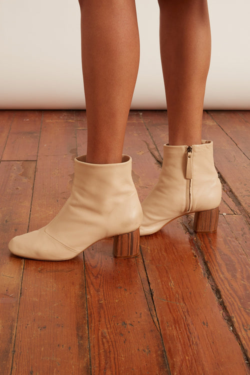Chic Nappa Leather Booties in Ivory