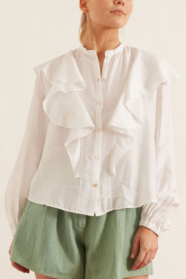Chic Twill Volants Shirt in Bianco