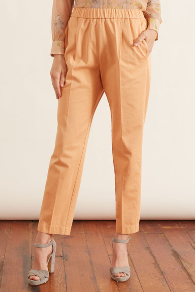 Cotton Gabardine Elasticated Pants in Pesca