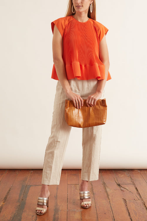 Cotton Linen Structured Pants in Juta