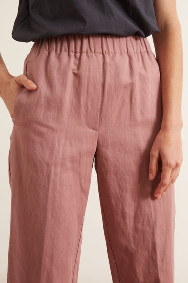 Cotton Linen Structured Pants in Malva