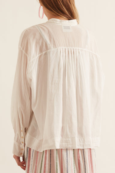 Cotton Silk Voile Shirt with Ribbon in Neve