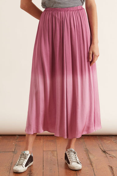 Deep Dyed Satin Elasticated Skirt in Magenta