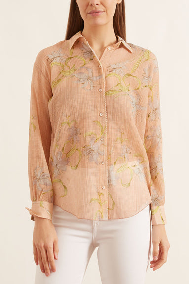 Giulietta Print Cotton Silk Creponne Voile Shirt in Pesca