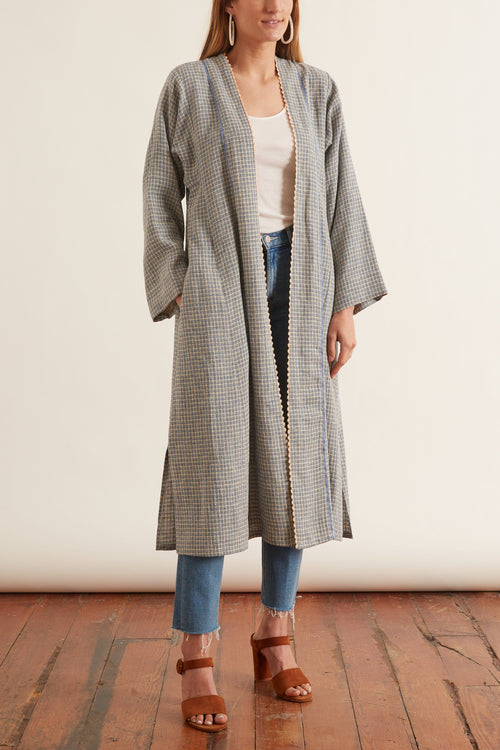 Handcrafted Linen Cotton Vichy Dustcoat in Azzurro