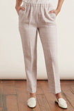 Linen Cotton Herringbone Elasticated Pants in Lilac