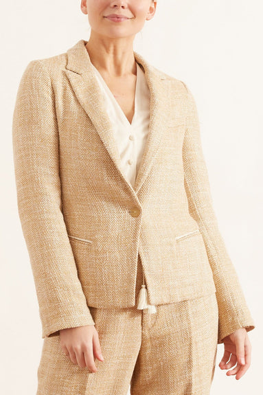 Linen Cotton Herringbone Jacket in Zafferano