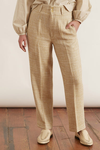 Linen Cotton Herringbone Pants in Zafferano