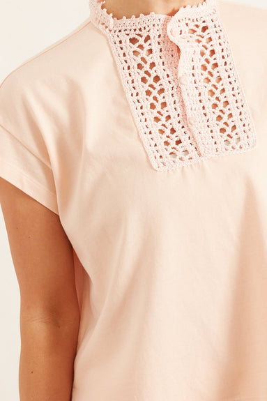 Oversized Crochet Plastron Cotton Jersey T-Shirt in Pesca