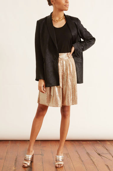 Sequins Jersey Bermuda Shorts in Oro