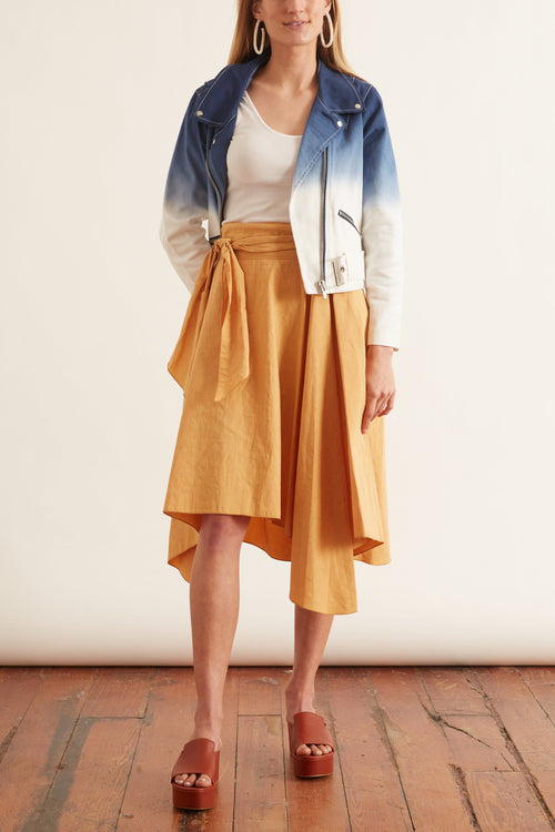 Slubbed Cotton Linen Gipsy Skirt in Ambra