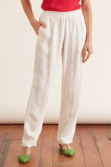 Viscose Linen Piquet Elasticated Pants in Bianco