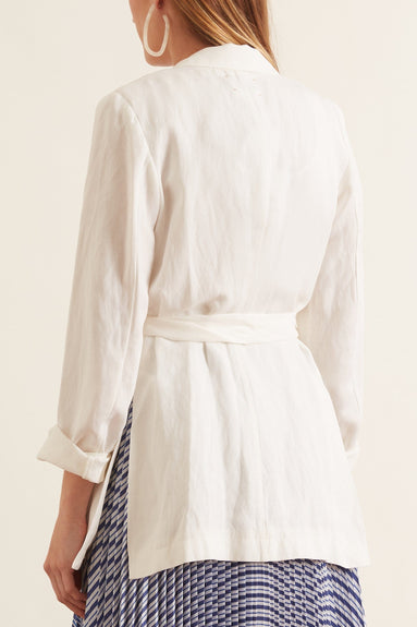 Viscose Linen Piquet Sash Jacket in Bianco