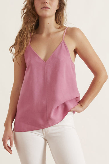 Washed Cupro Twill Top in Rosie