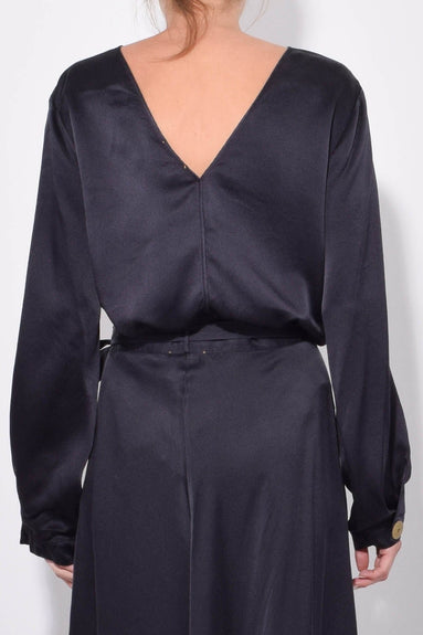 Cloquet Silk V-Back Top in Notte