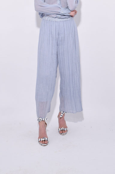 Cotton Silk Voile Pants in Azzurro