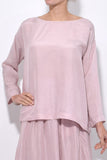 Habotai Silk Round Neck Shirt in Polvere