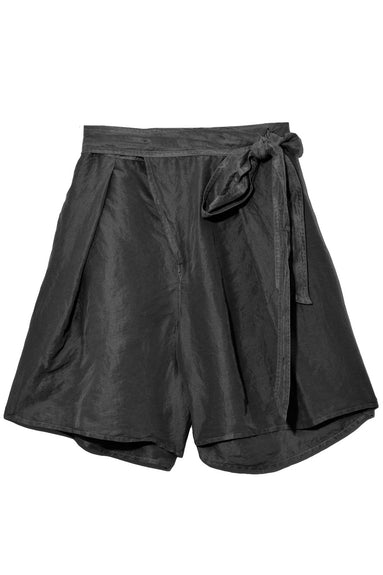 Habotai Silk Shorts in Nero