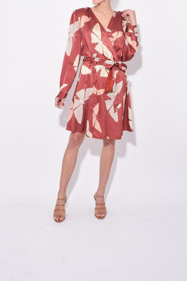 Papillons Gitans Print Satin Silk Short Dress in Ruggine