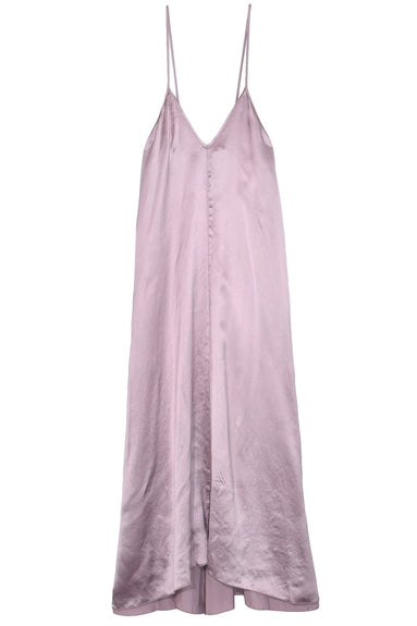 Shaded Satin Dress with Knot in Glicine