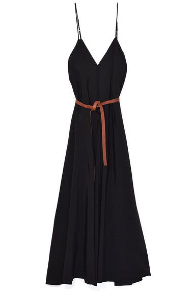 Slubbed Linen Belted Dress in Nero