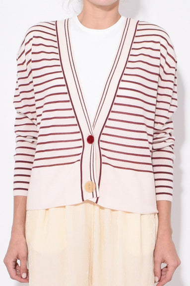 Striped Merinos Cardigan in Mosto