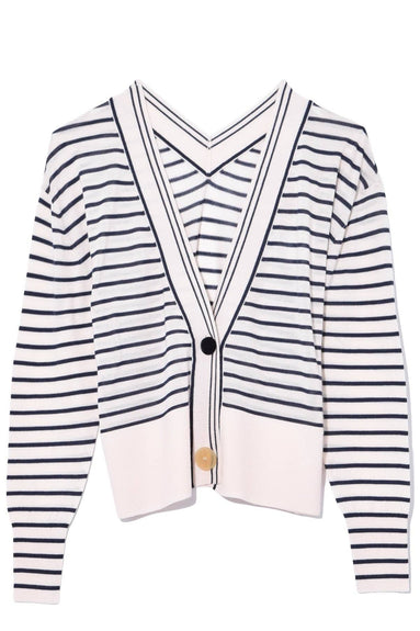 Striped Merinos Cardigan in Notte