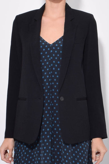 Viscose Crepe Enverssatin Jacket in Nero